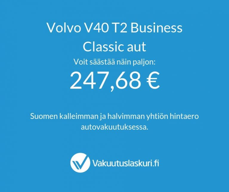 Vakuutuksen hinta - Volvo V40 T2